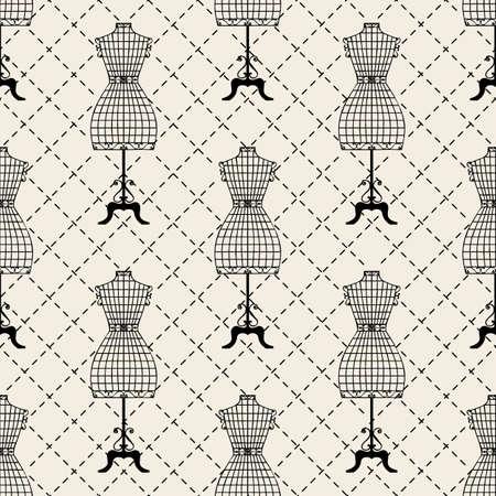seamless monochrome mannequin pattern background 向量圖像