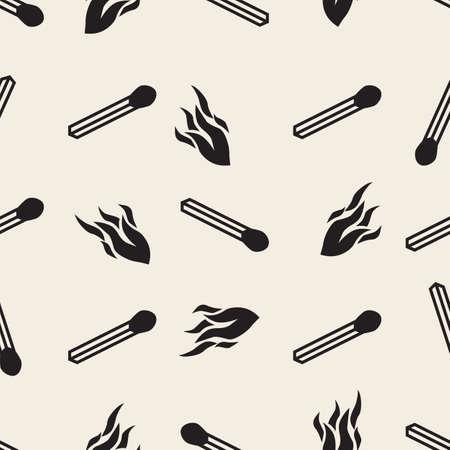 seamless monochrome burning matches with flame pattern background Illusztráció
