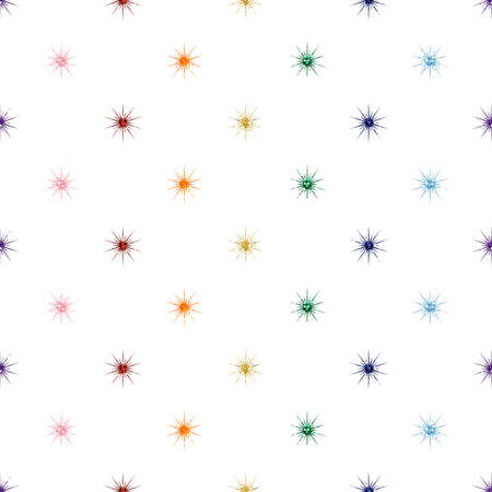 seamless colorful rainbow glitter star pattern on white background