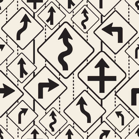 seamless monochrome arrow road signs pattern background