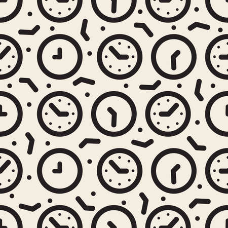 seamless monochrome clock pattern background