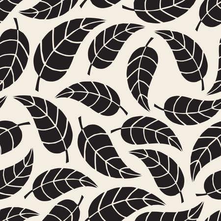 seamless monochrome leave pattern background