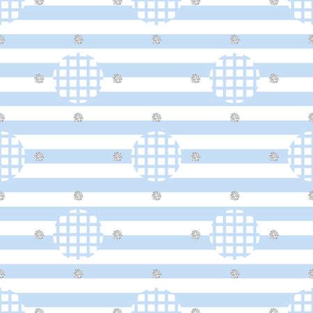 seamless monochrome simple dot with silver dot glitter pattern on blue stripe background