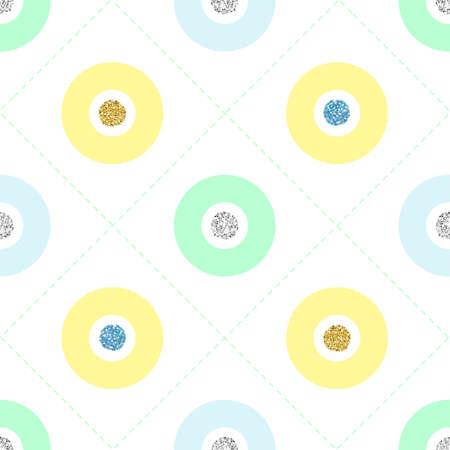 seamless green and yellow glitter dot pattern on white background