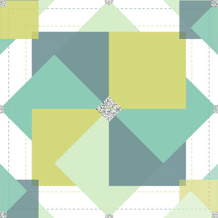 seamless colorful abstract flower pattern with silver glitter on white background