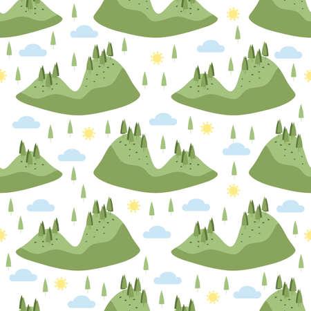 seamless hand drawn green forrest island pattern on white background