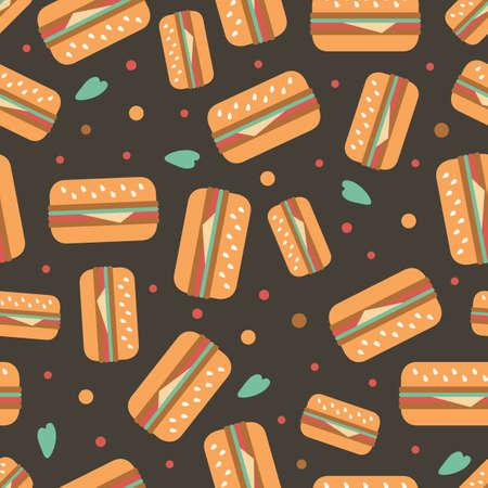 seamless hamburger with polka dot pattern background