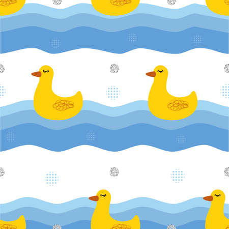 seamless hand drawn yellow duck and lake with silver triangle glitter pattern background