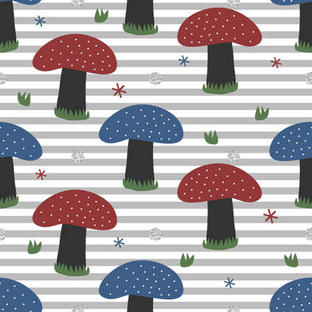 seamless cute pattern background with glitter mushroom
