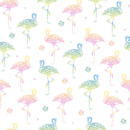 seamless abstract colorful hand drawn flamingo from line with polka dot pattern background 矢量图像