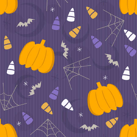 seamless halloween element pattern background with pumpkin and candy Ilustración de vector