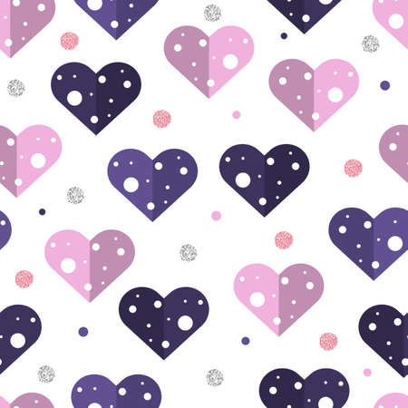 seamless abstract colorful and glitter heart pattern