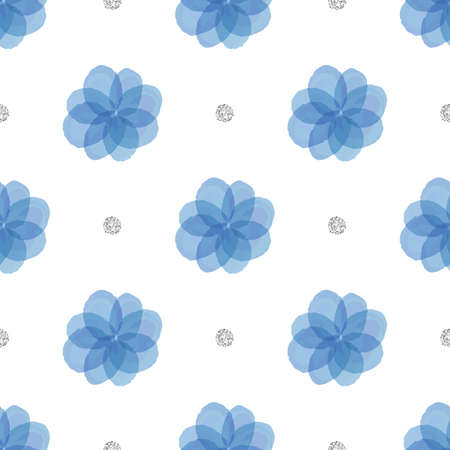 seamless blue floral with silver dot glitter pattern background Stock Illustratie