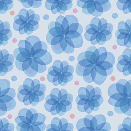 seamless blue floral with colorful dot pattern background Stock Illustratie