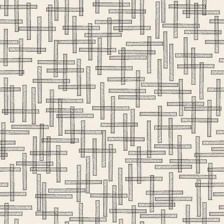 seamless monochrome cross stick pattern background Stock Illustratie