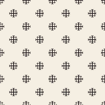 seamless monochrome dot shape and cross line pattern background