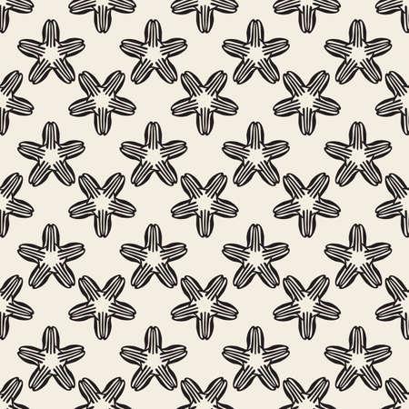 seamless monochrome star flower pattern background