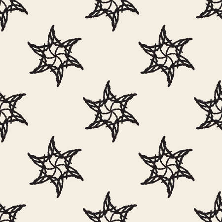 seamless monochrome abstract star flower pattern background