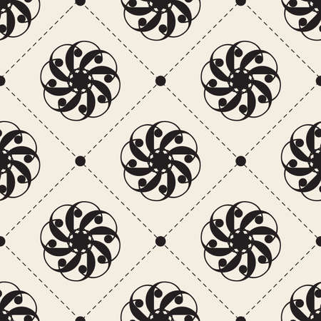 seamless abstract monochrome flower pattern background with circle and dot shape Stock Illustratie