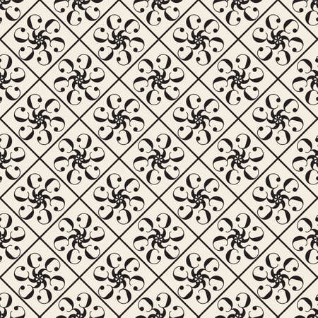 seamless classic flower pattern background in grid line Stock Illustratie