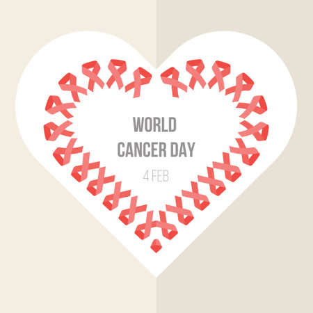 world cancer day banner with heart shape from ribbon