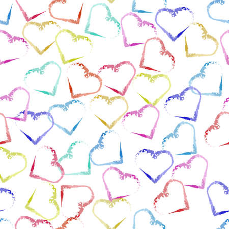 seamless valentine pattern background with multicolour heart shape stamp Stock Illustratie