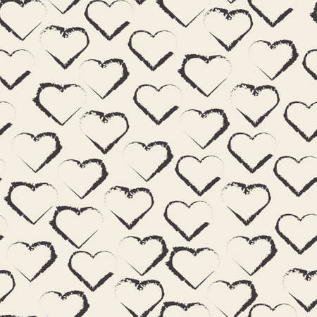 seamless valentine pattern background with monochrome heart shape stamp