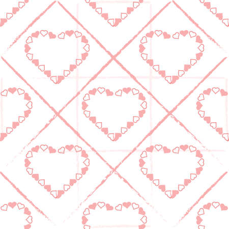 seamless valentine pattern background with pink heart frame