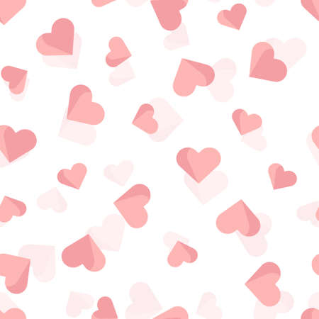 seamless valentine pattern background with doodle pink heart shape