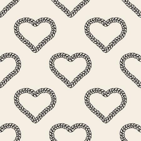 seamless decoration pattern background with monochrome twist braided heart