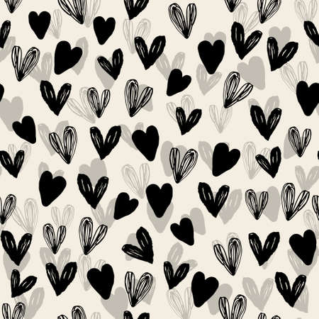 seamless decoration pattern background with monochrome hand draw heart Stock Illustratie