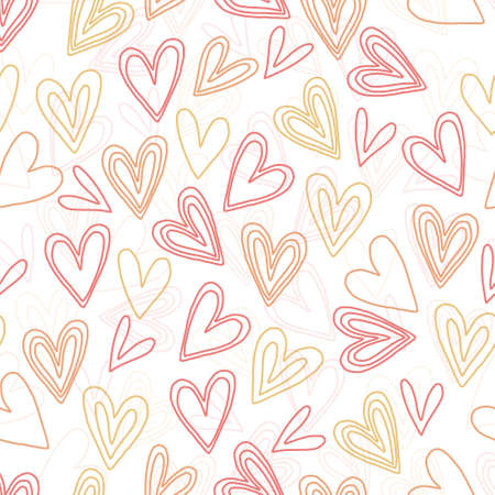 seamless valentine day pattern background with doodle multicolour heart shape
