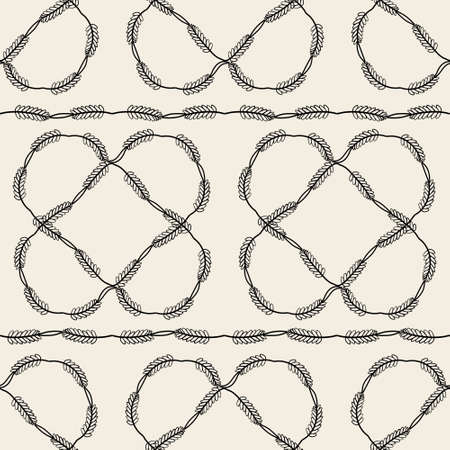 seamless fabic pattern background with monochrome leaves frame