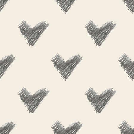 seamless valentine day pattern background with monochrome hand draw heart