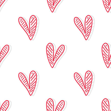 seamless valentine day pattern background with red hand draw heart