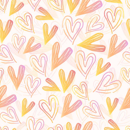 seamless valentine day pattern background with colourful heart line art