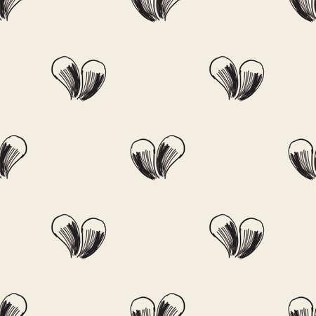 seamless valentine day pattern background with monochrome heart line art Stock Illustratie
