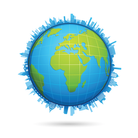 World map globe made of circle shapes black and yellow royalty free 75999017 world map circle vector gumiabroncs Image collections