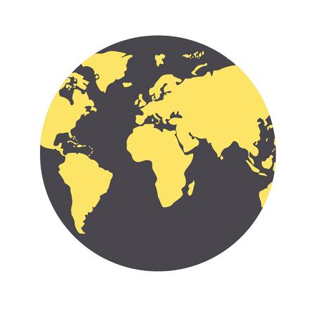 World Map Globe Made of Circle Shapes black and yellow