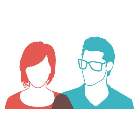 user profile pic man and woman vector Illustration