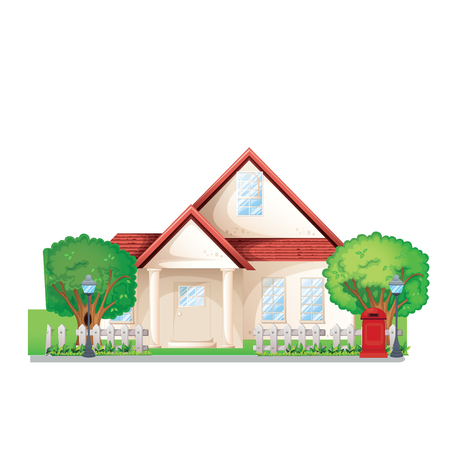 investor: beautiful house with trees vector Illustration