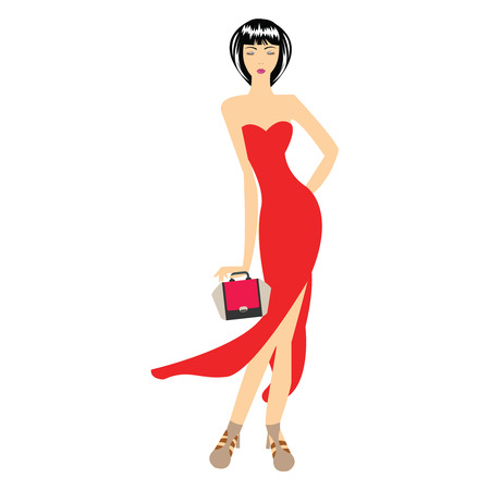 beautiful woman fashion model in red dress vector Illustration