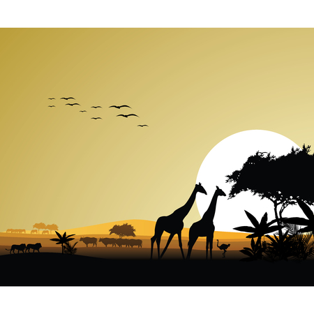 beautiful forest with animals vector