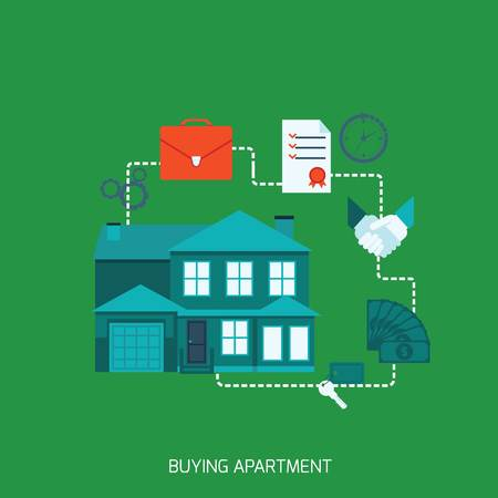 shop assistant: buying apartment vector file