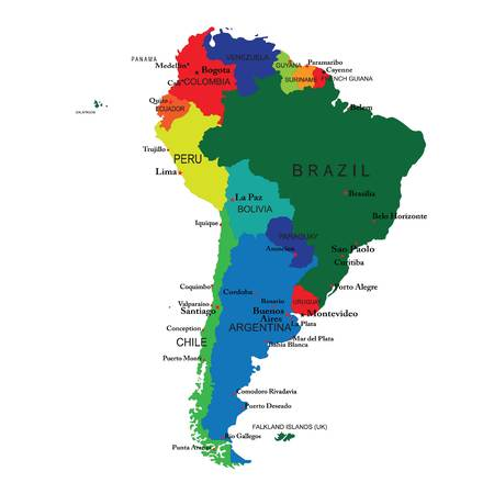 brazil country map color vector Vetores
