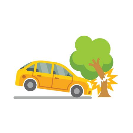 smash: car accident with tree vector white background
