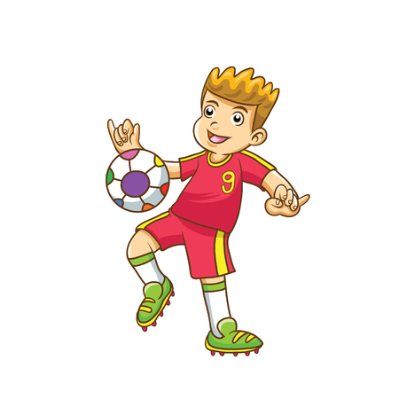 Child playing football vector with white background Illustration