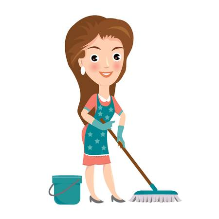 Cleaning service maid house cleaning, woman cleaning vector with white background Illustration
