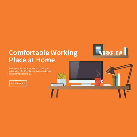 Comfortable working place at home with computer and elements