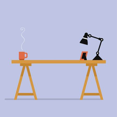 computer table with lamp and tea cup vector file